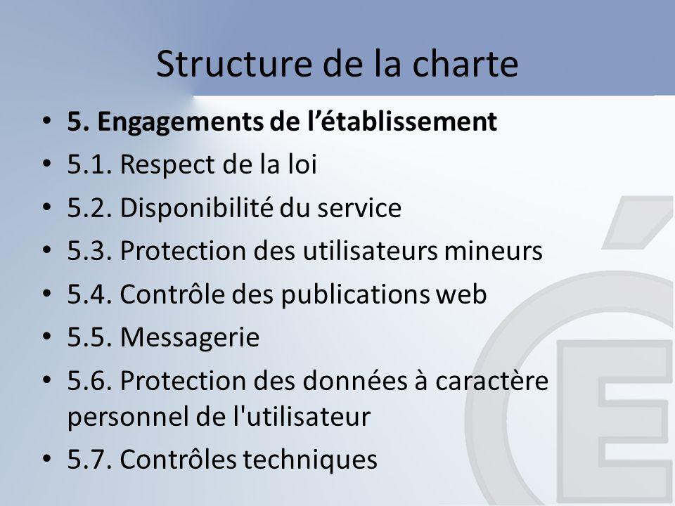 Structure de la charte 5. Engagements de létablissement 5.1. Respect de la loi 5.2. Disponibilité du service 5.3. Protection des utilisateurs mineurs