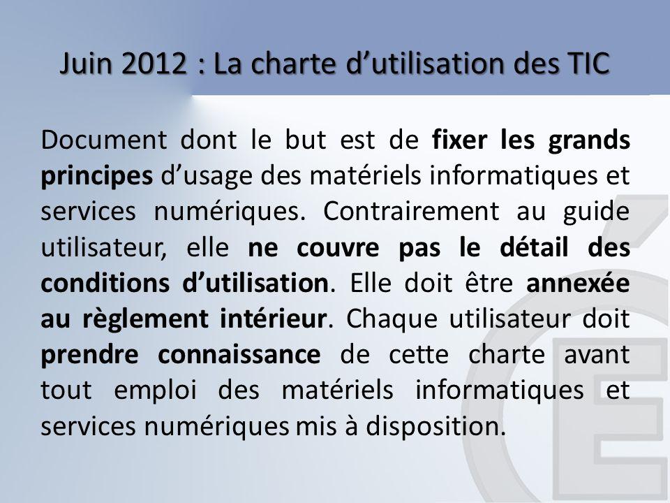 Juin 2012 : La charte dutilisation des TIC Document dont le but est de fixer les grands principes dusage des matériels informatiques et services numér