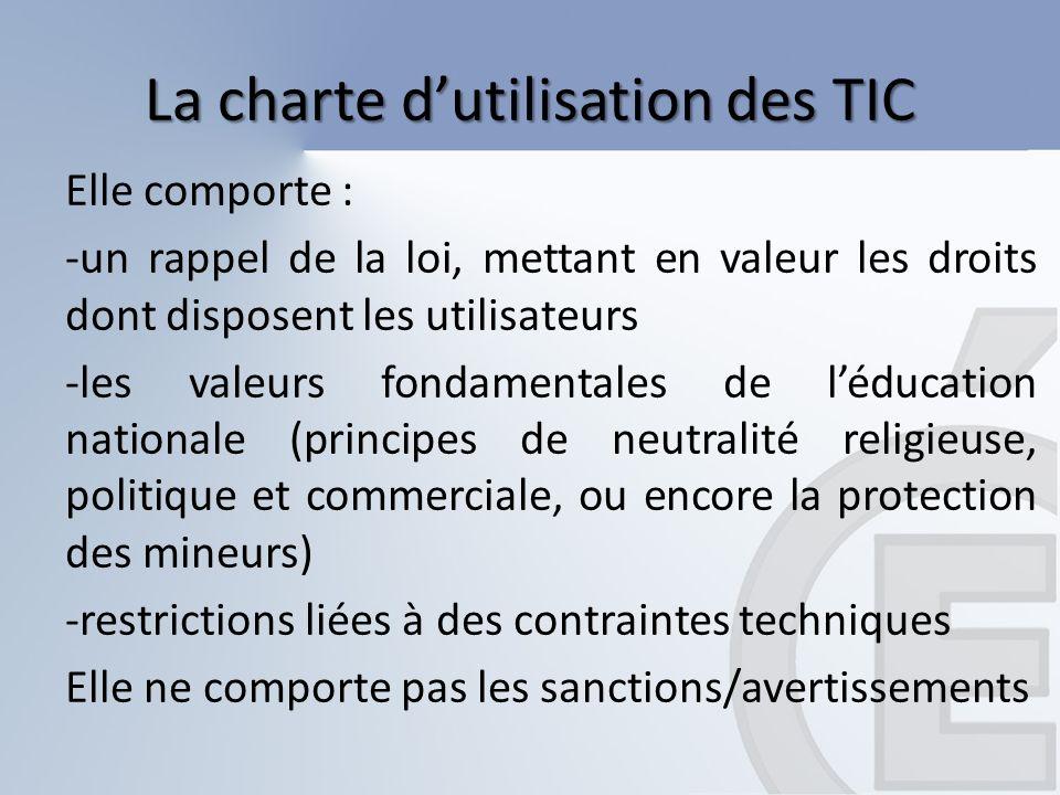 La charte dutilisation des TIC Elle comporte : -un rappel de la loi, mettant en valeur les droits dont disposent les utilisateurs -les valeurs fondame