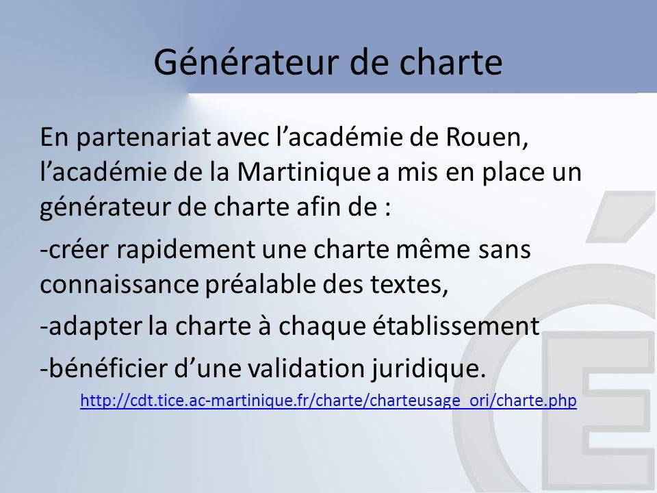 Générateur de charte En partenariat avec lacadémie de Rouen, lacadémie de la Martinique a mis en place un générateur de charte afin de : -créer rapide