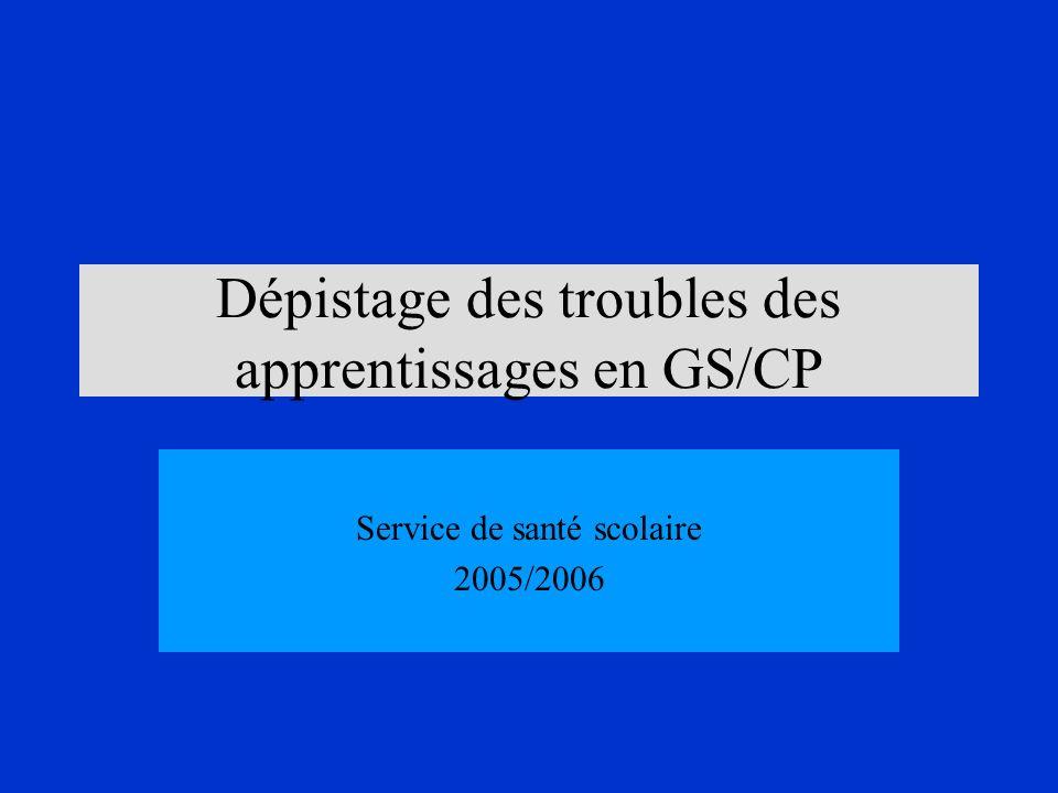 Dépistage des troubles des apprentissages en GS/CP Service de santé scolaire 2005/2006