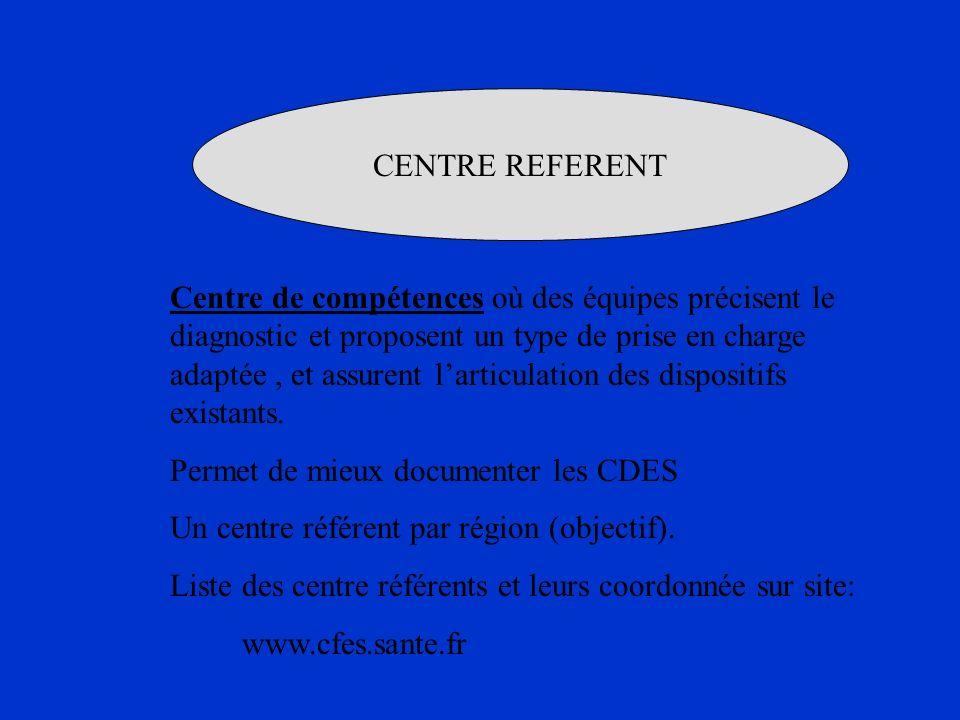 CENTRE REFERENT Centre de compétences où des équipes précisent le diagnostic et proposent un type de prise en charge adaptée, et assurent larticulatio