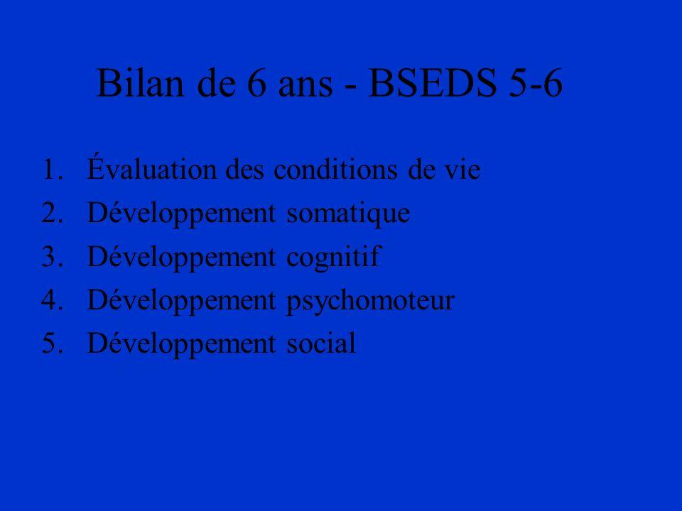 Bilan de 6 ans - BSEDS 5-6 1.Évaluation des conditions de vie 2.Développement somatique 3.Développement cognitif 4.Développement psychomoteur 5.Dévelo