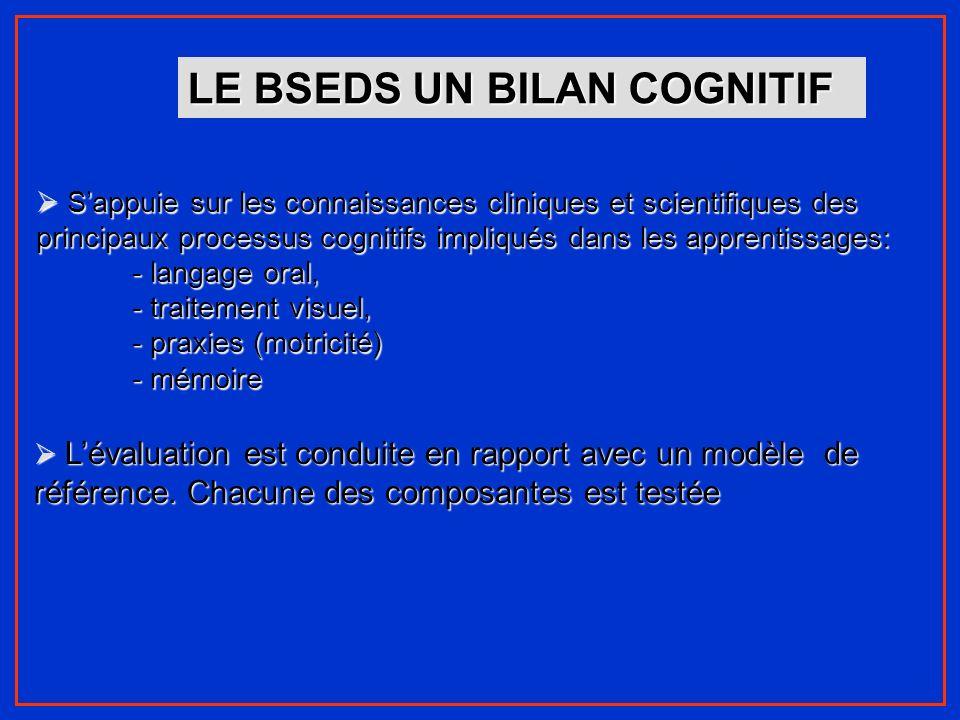 LE BSEDS UN BILAN COGNITIF Sappuie sur les connaissances cliniques et scientifiques des principaux processus cognitifs impliqués dans les apprentissag