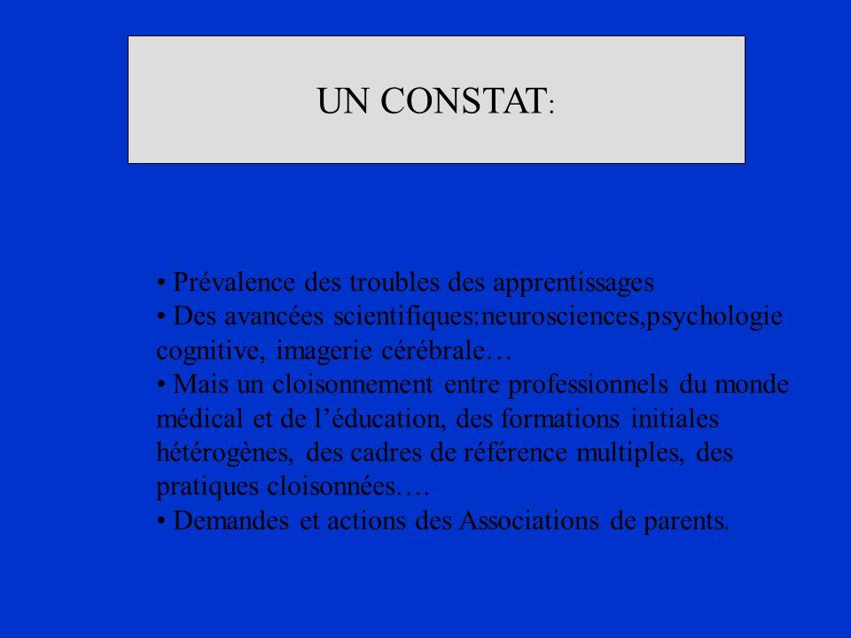 UN CONSTAT : Prévalence des troubles des apprentissages Des avancées scientifiques:neurosciences,psychologie cognitive, imagerie cérébrale… Mais un cl