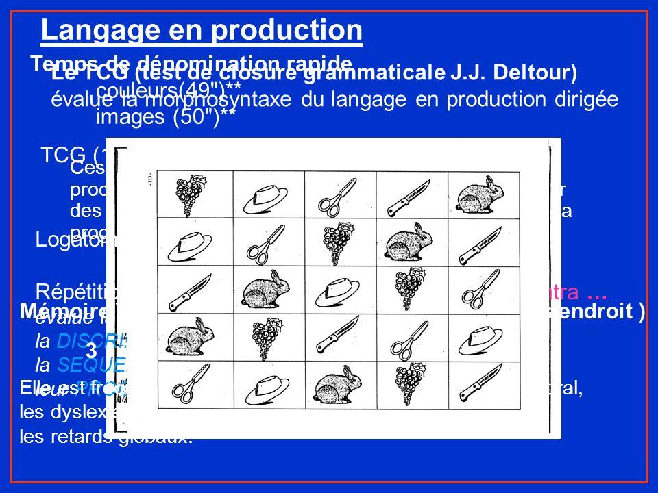 Ces épreuves de dénomination rapide évaluent la production phonologique des mots et permet de repérer des troubles de lévocation lexicale et les diffi