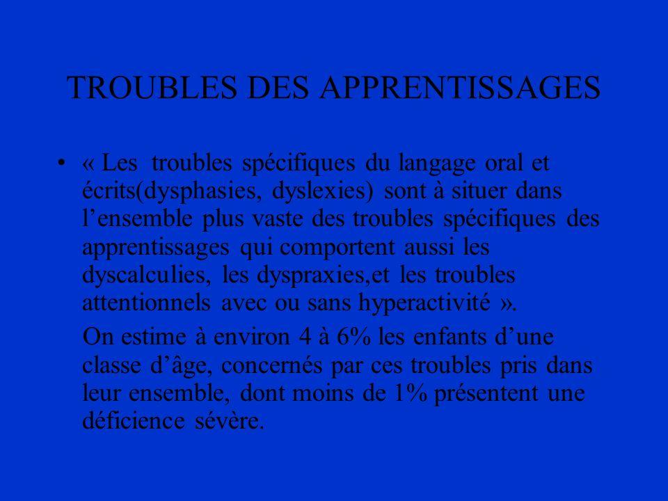 TROUBLES DES APPRENTISSAGES « Les troubles spécifiques du langage oral et écrits(dysphasies, dyslexies) sont à situer dans lensemble plus vaste des tr
