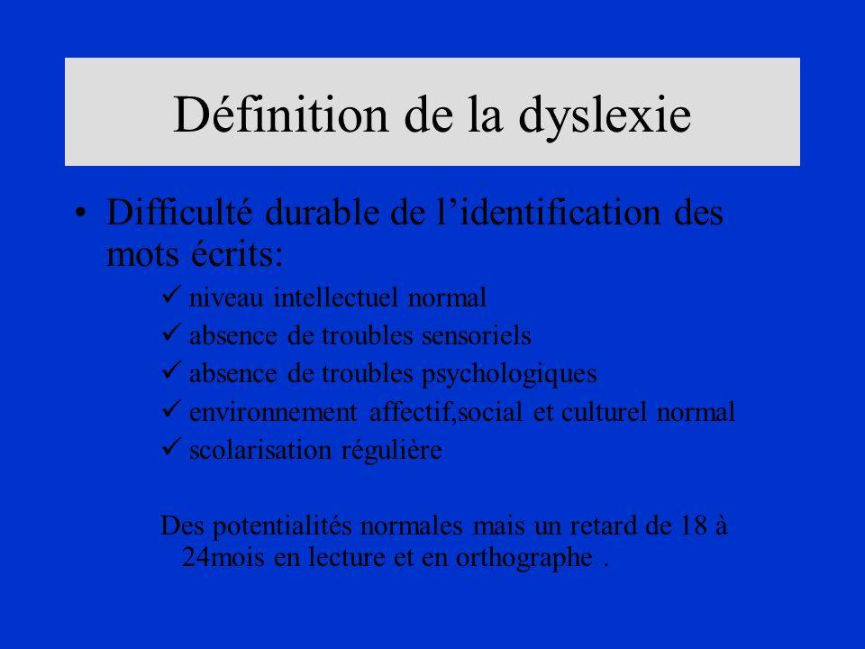 Définition de la dyslexie Difficulté durable de lidentification des mots écrits: niveau intellectuel normal absence de troubles sensoriels absence de