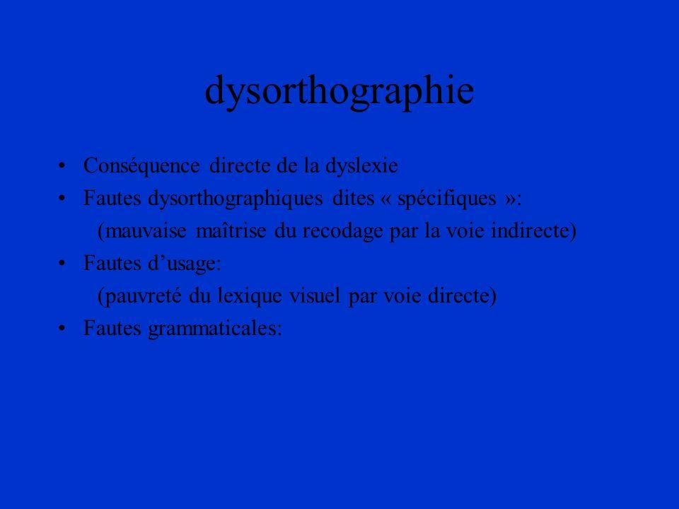 dysorthographie Conséquence directe de la dyslexie Fautes dysorthographiques dites « spécifiques »: (mauvaise maîtrise du recodage par la voie indirec
