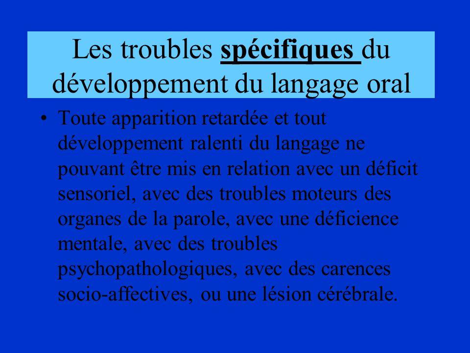 Les troubles spécifiques du développement du langage oral Toute apparition retardée et tout développement ralenti du langage ne pouvant être mis en re