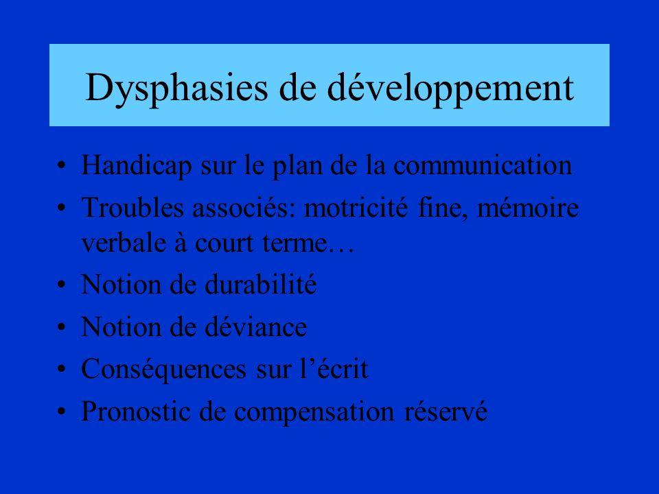 Dysphasies de développement Handicap sur le plan de la communication Troubles associés: motricité fine, mémoire verbale à court terme… Notion de durab