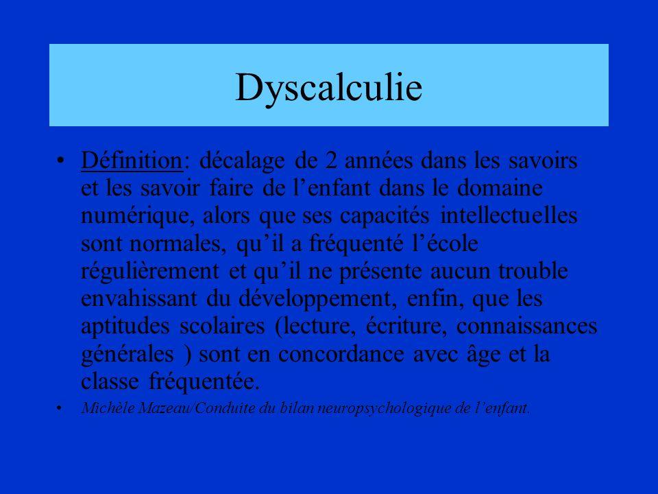 Dyscalculie Définition: décalage de 2 années dans les savoirs et les savoir faire de lenfant dans le domaine numérique, alors que ses capacités intell