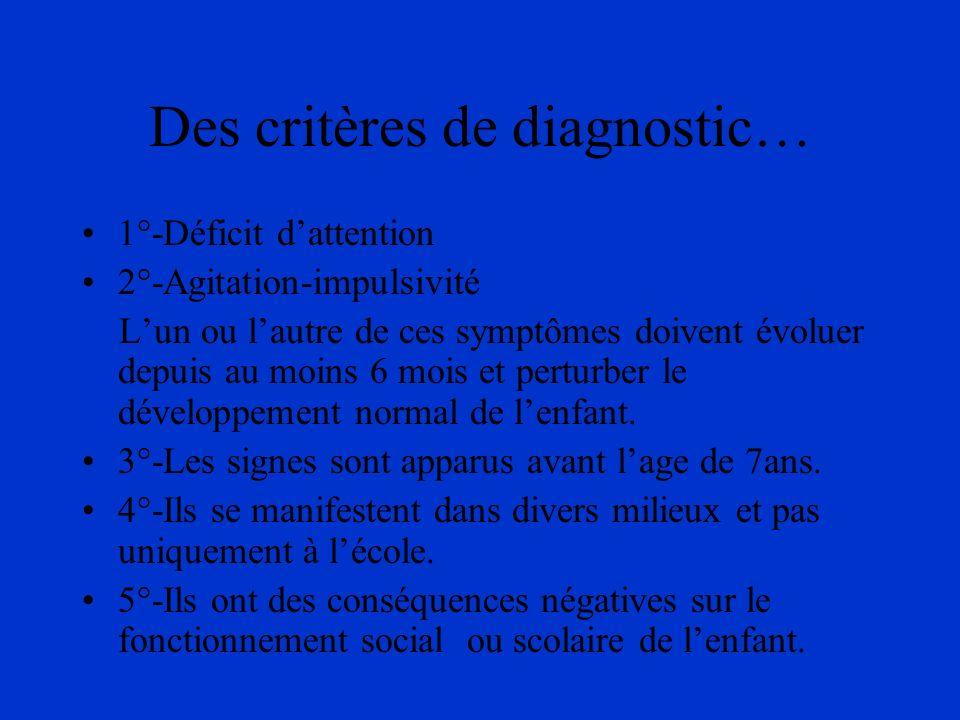 Des critères de diagnostic… 1°-Déficit dattention 2°-Agitation-impulsivité Lun ou lautre de ces symptômes doivent évoluer depuis au moins 6 mois et pe