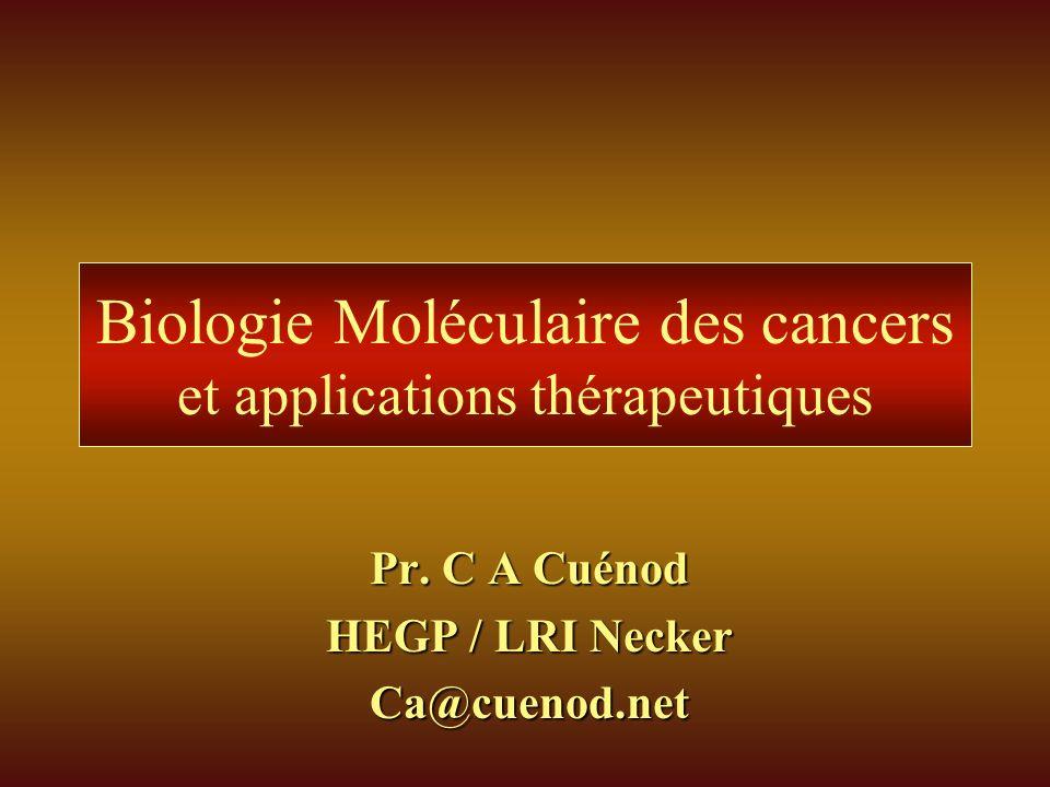 Biologie Moléculaire des cancers et applications thérapeutiques Pr. C A Cuénod HEGP / LRI Necker Ca@cuenod.net