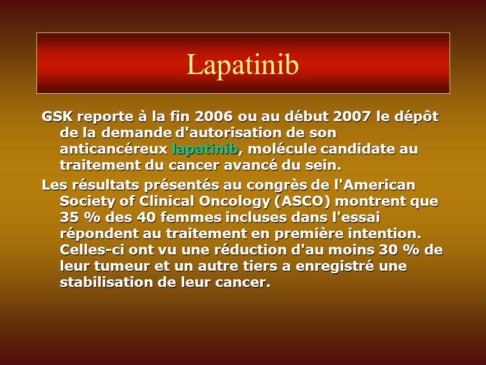 Lapatinib GSK reporte à la fin 2006 ou au début 2007 le dépôt de la demande d'autorisation de son anticancéreux lapatinib, molécule candidate au trait