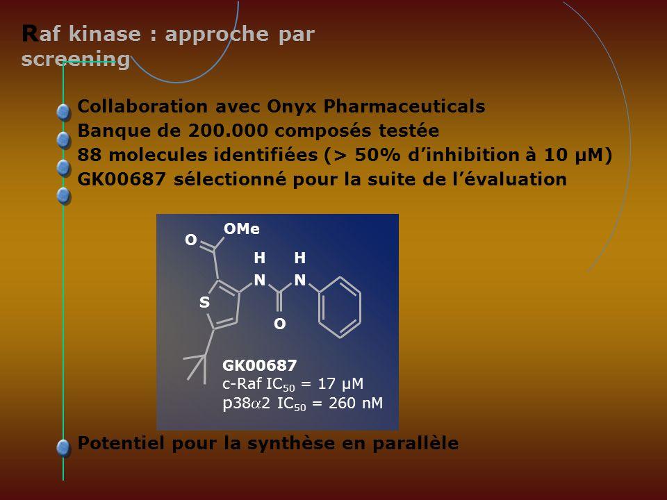 R af kinase : approche par screening Collaboration avec Onyx Pharmaceuticals Banque de 200.000 composés testée 88 molecules identifiées (> 50% dinhibi
