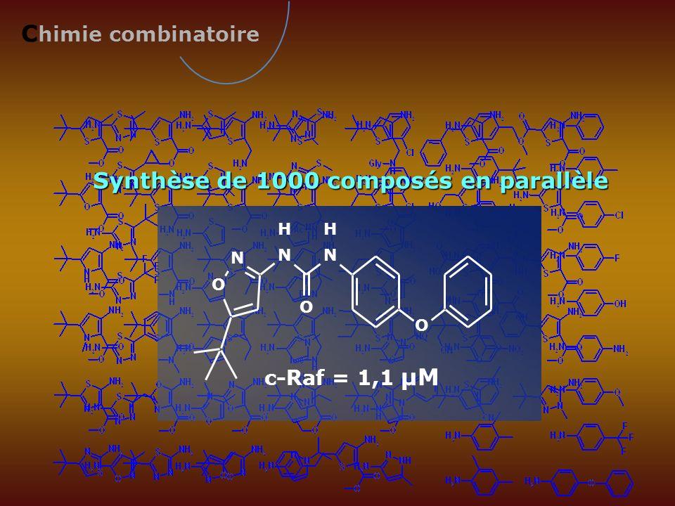 Synthèse de 1000 composés en parallèle N O H N H N O O c-Raf = 1,1 µM