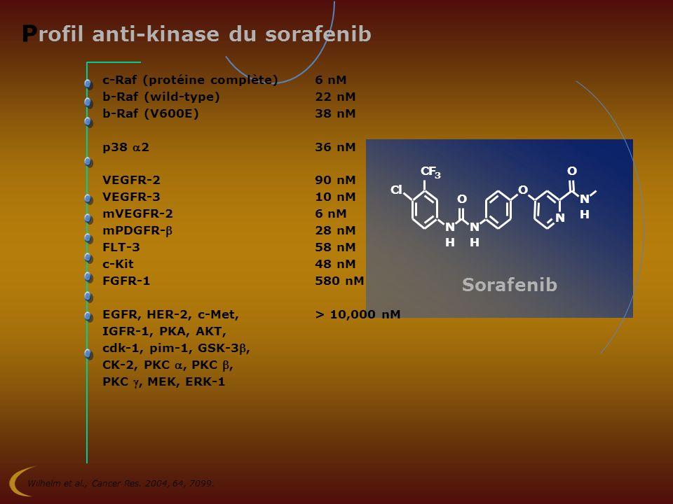 P rofil anti-kinase du sorafenib c-Raf (protéine complète)6 nM b-Raf (wild-type)22 nM b-Raf (V600E)38 nM p38 236 nM VEGFR-290 nM VEGFR-310 nM mVEGFR-2