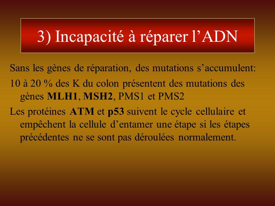 3) Incapacité à réparer lADN Sans les gènes de réparation, des mutations saccumulent: 10 à 20 % des K du colon présentent des mutations des gènes MLH1
