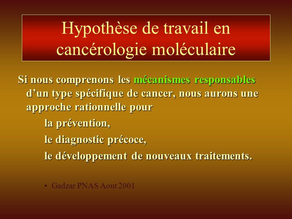 Hypothèse de travail en cancérologie moléculaire Si nous comprenons les mécanismes responsables dun type spécifique de cancer, nous aurons une approch
