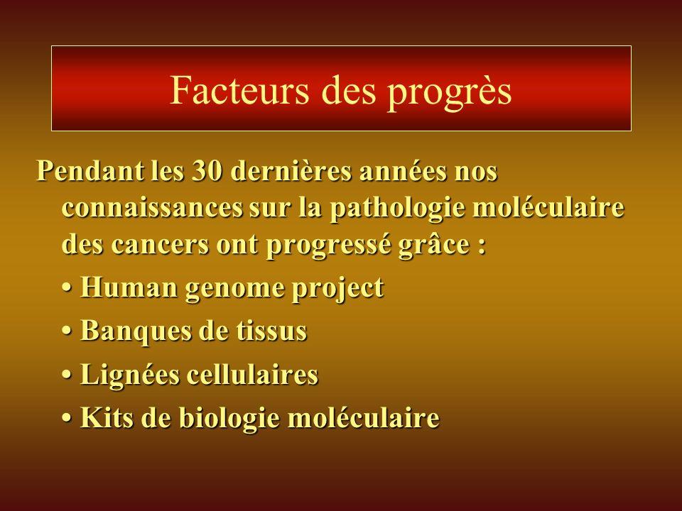Facteurs des progrès Pendant les 30 dernières années nos connaissances sur la pathologie moléculaire des cancers ont progressé grâce : Human genome pr