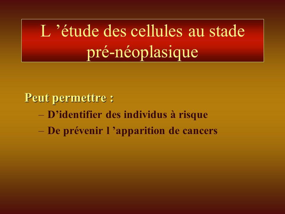 L étude des cellules au stade pré-néoplasique Peut permettre : –Didentifier des individus à risque –De prévenir l apparition de cancers