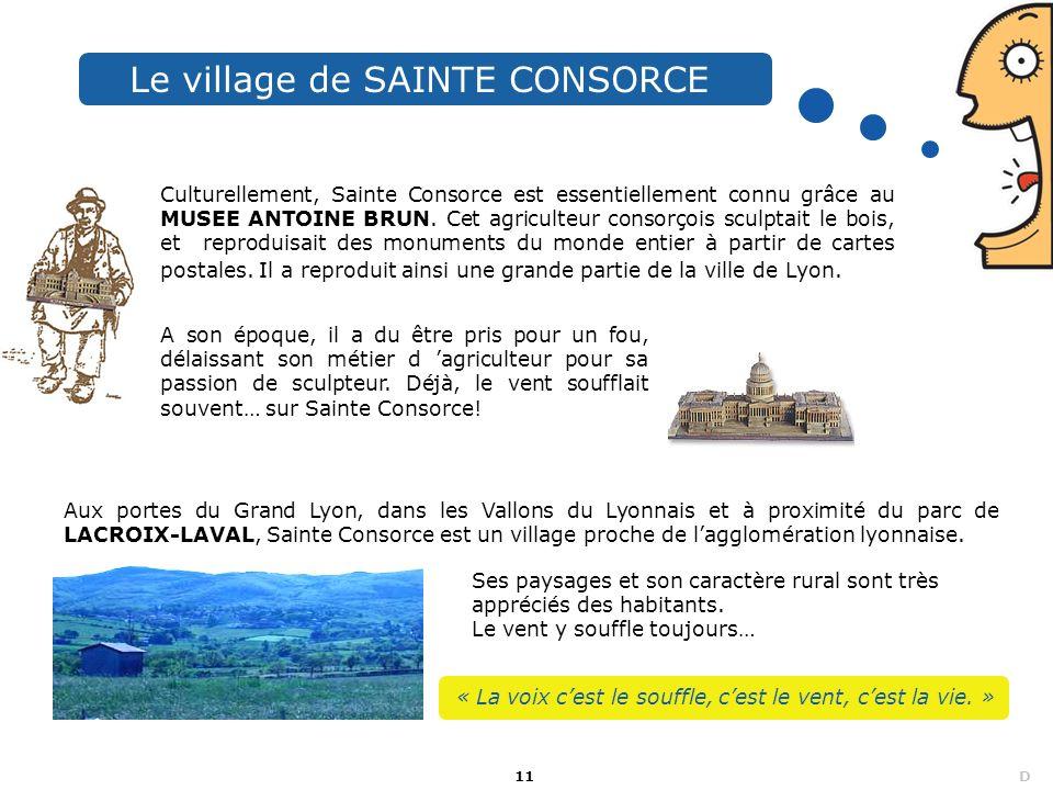 11 D Le village de SAINTE CONSORCE Culturellement, Sainte Consorce est essentiellement connu grâce au MUSEE ANTOINE BRUN. Cet agriculteur consorçois s
