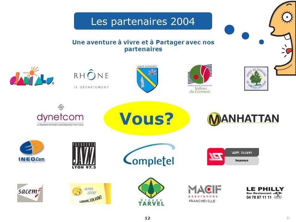 12 D Une aventure à vivre et à Partager avec nos partenaires FRANCHEVILLE Les partenaires 2004 Vous?