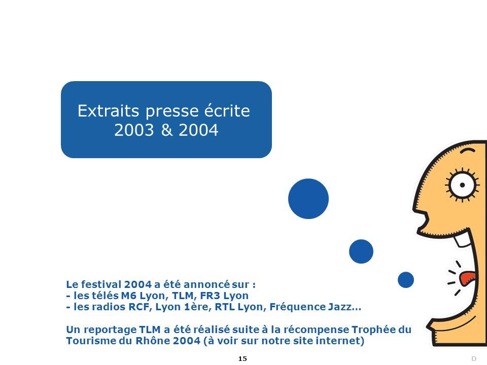 15 D Extraits presse écrite 2003 & 2004 Le festival 2004 a été annoncé sur : - les télés M6 Lyon, TLM, FR3 Lyon - les radios RCF, Lyon 1ère, RTL Lyon,