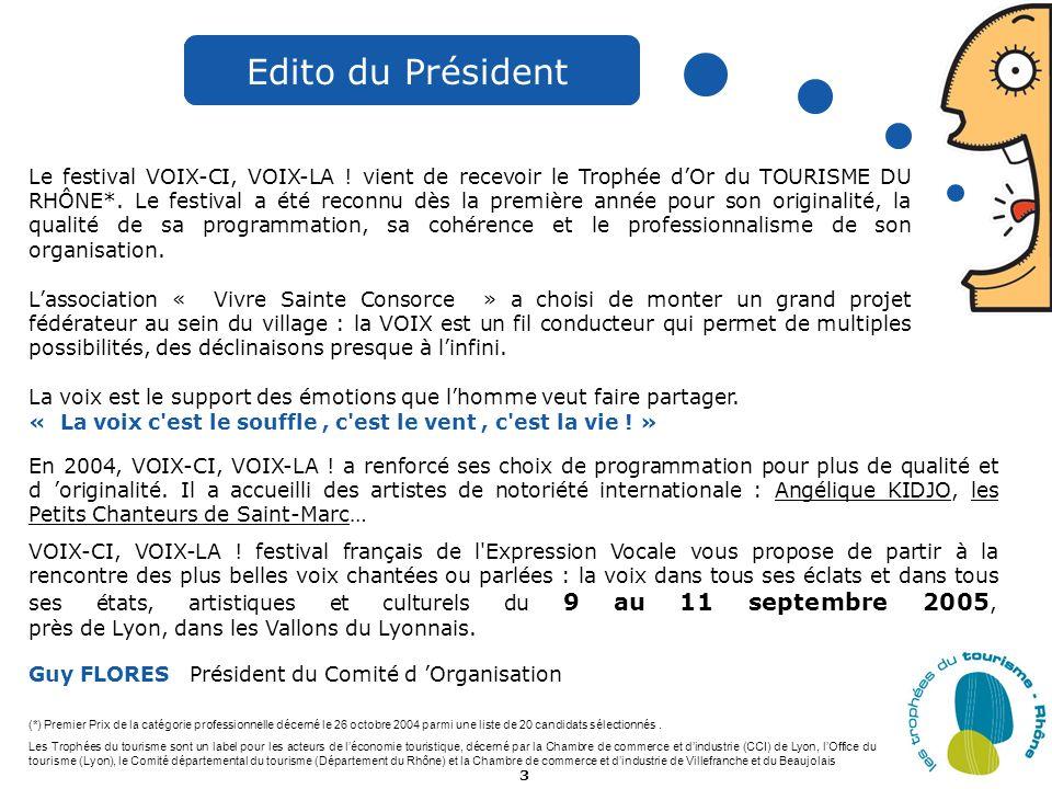 3 D Edito du Président Le festival VOIX-CI, VOIX-LA ! vient de recevoir le Trophée dOr du TOURISME DU RHÔNE*. Le festival a été reconnu dès la premièr