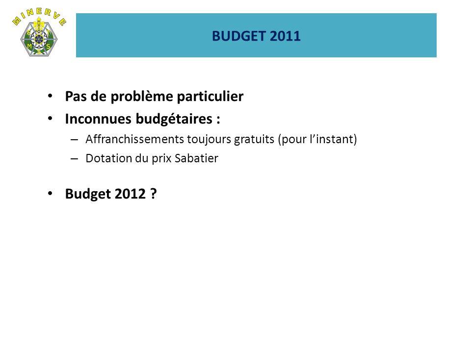 BUDGET 2011 Pas de problème particulier Inconnues budgétaires : – Affranchissements toujours gratuits (pour linstant) – Dotation du prix Sabatier Budget 2012