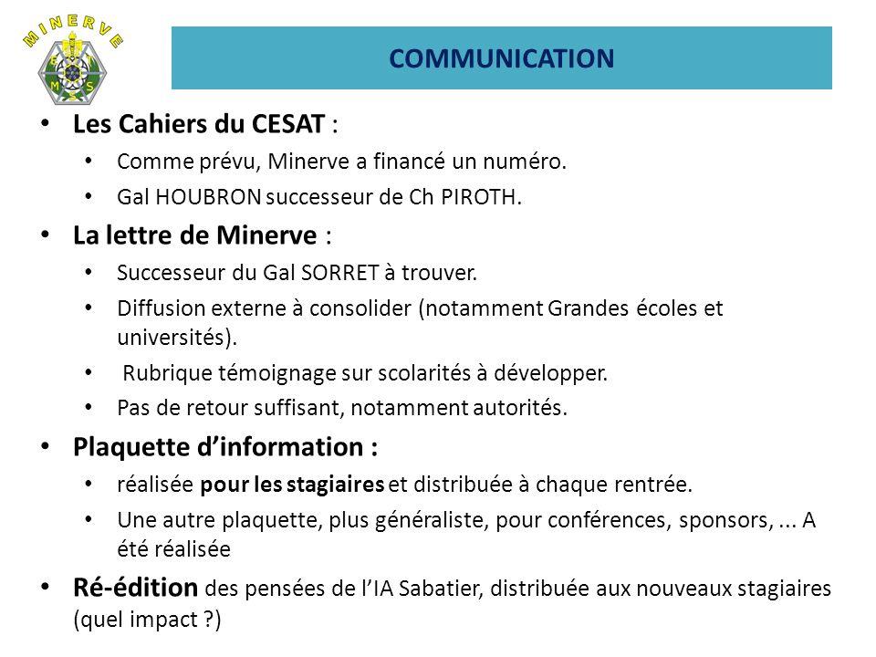 Les Cahiers du CESAT : Comme prévu, Minerve a financé un numéro.