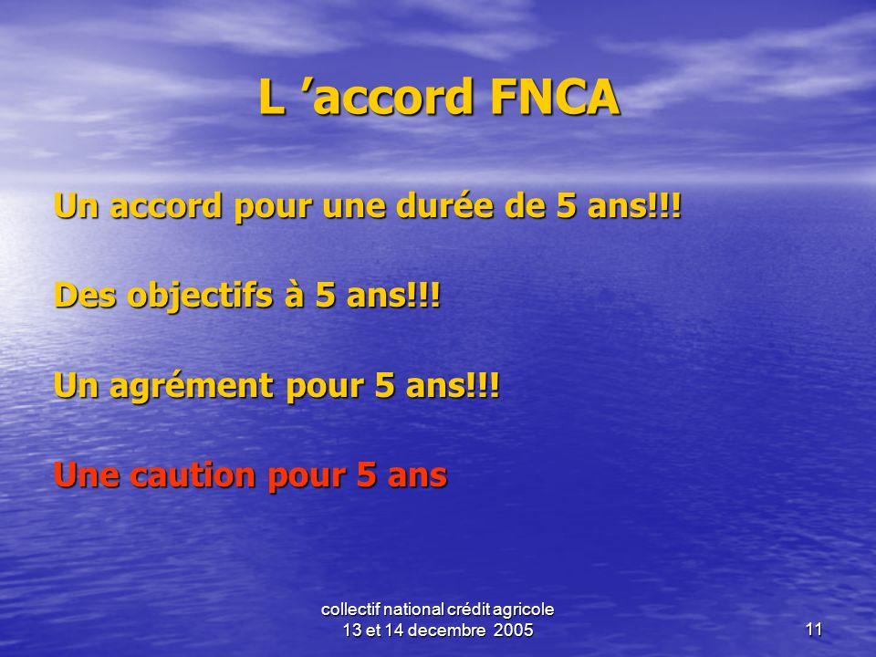 collectif national crédit agricole 13 et 14 decembre 200511 L accord FNCA Un accord pour une durée de 5 ans!!! Des objectifs à 5 ans!!! Un agrément po