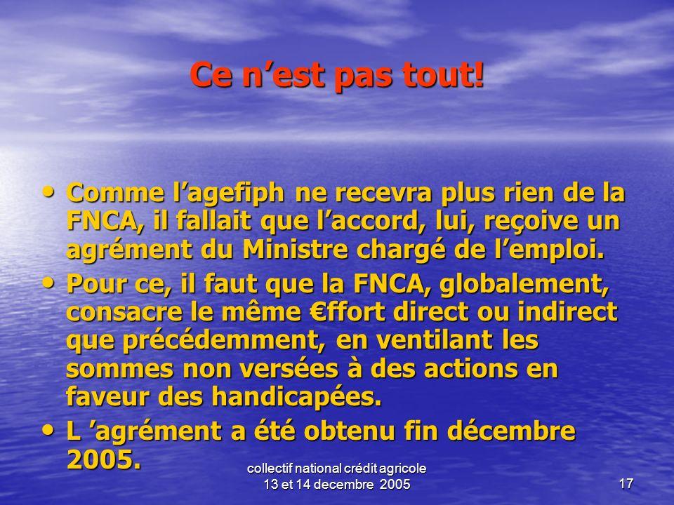 collectif national crédit agricole 13 et 14 decembre 200517 Ce nest pas tout! Comme lagefiph ne recevra plus rien de la FNCA, il fallait que laccord,