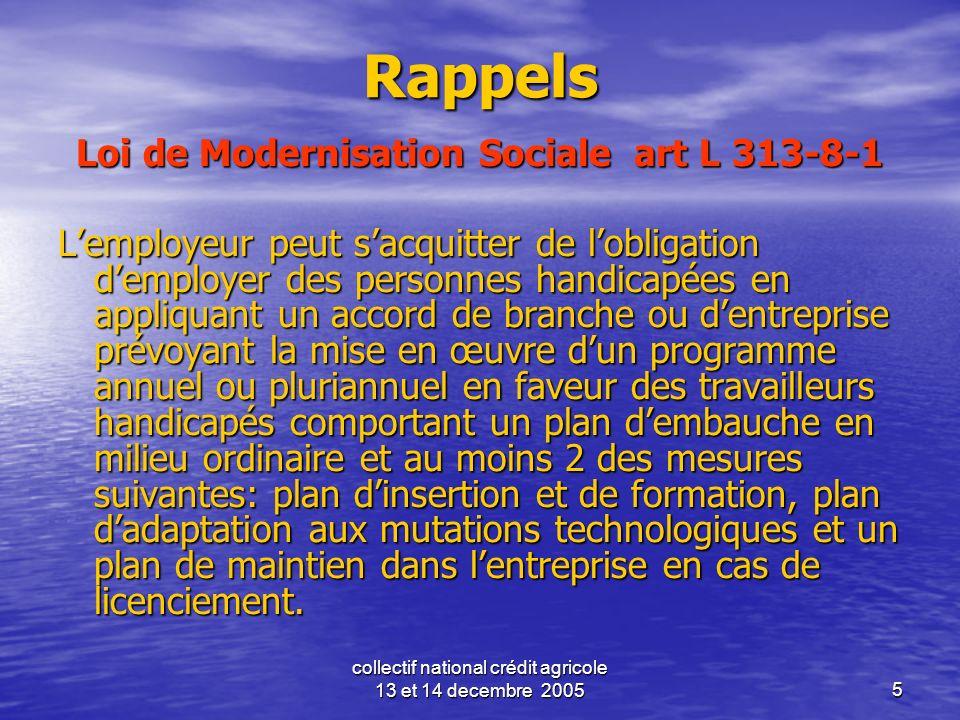 collectif national crédit agricole 13 et 14 decembre 20055 Rappels Loi de Modernisation Sociale art L 313-8-1 Lemployeur peut sacquitter de lobligatio