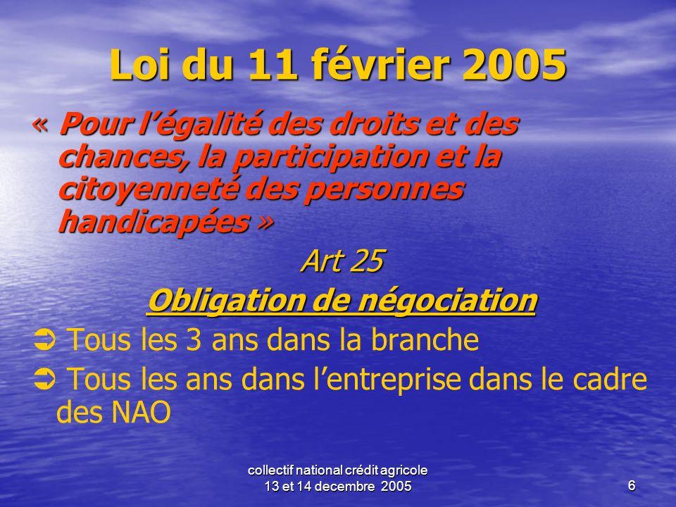 collectif national crédit agricole 13 et 14 decembre 20056 Loi du 11 février 2005 « Pour légalité des droits et des chances, la participation et la ci