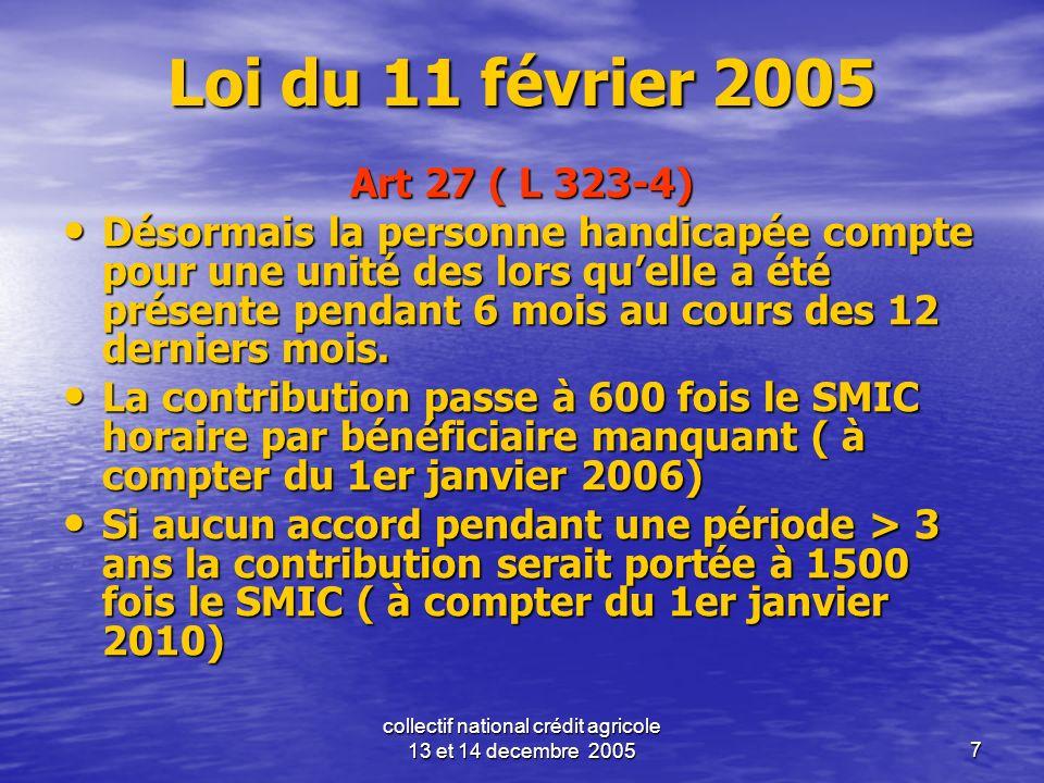 collectif national crédit agricole 13 et 14 decembre 20057 Loi du 11 février 2005 Art 27 ( L 323-4) Désormais la personne handicapée compte pour une u