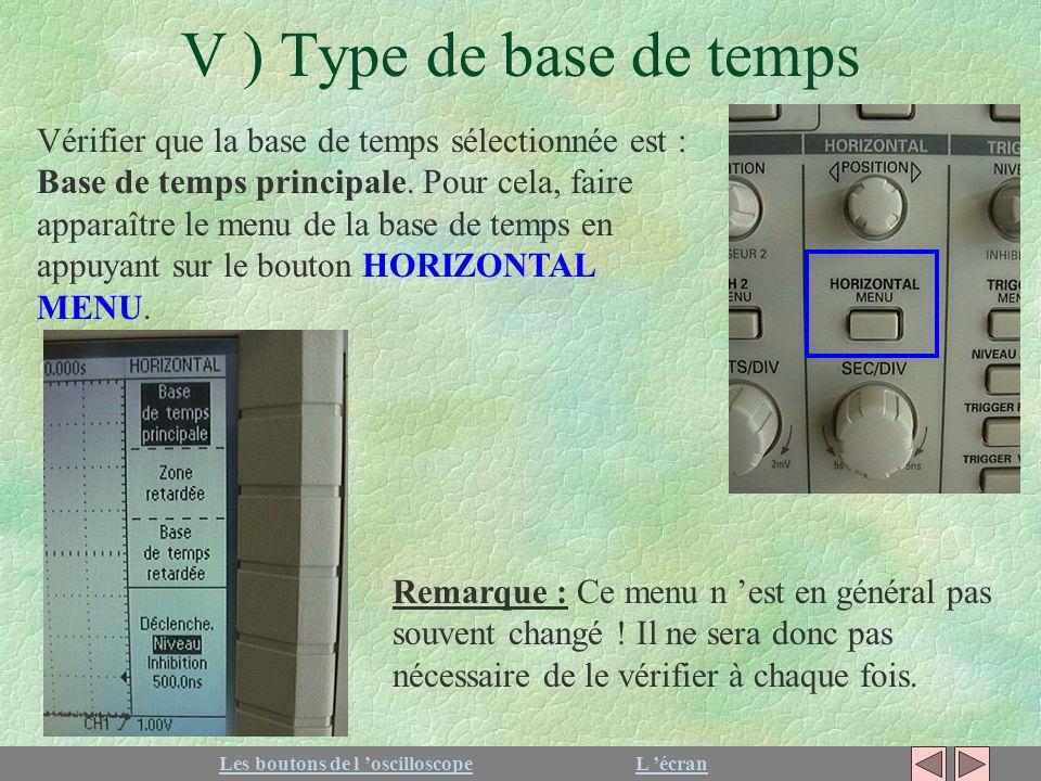 V ) Type de base de temps Vérifier que la base de temps sélectionnée est : Base de temps principale. Pour cela, faire apparaître le menu de la base de