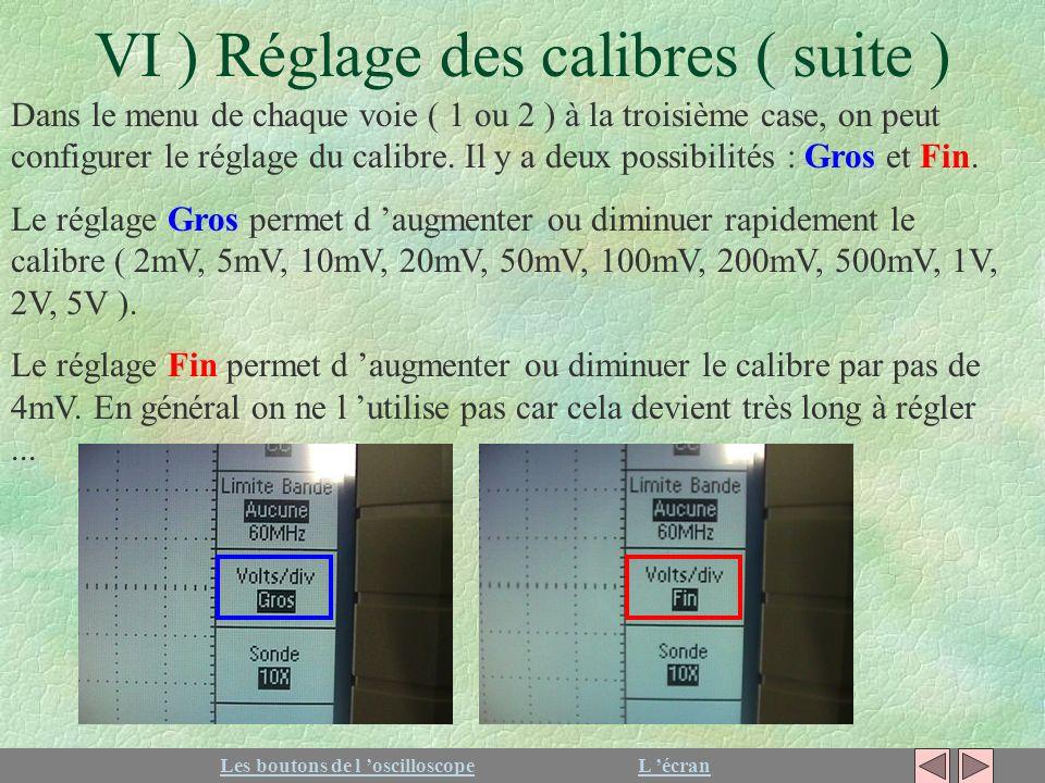 VI ) Réglage des calibres ( suite ) Dans le menu de chaque voie ( 1 ou 2 ) à la troisième case, on peut configurer le réglage du calibre. Il y a deux