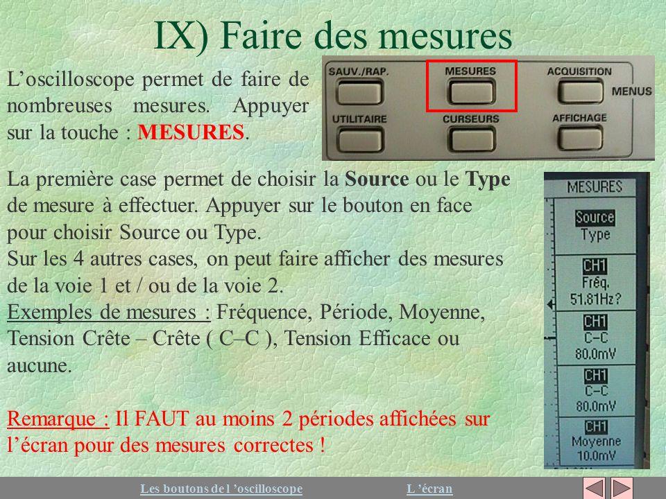 IX) Faire des mesures Les boutons de l oscilloscopeL écran Loscilloscope permet de faire de nombreuses mesures. Appuyer sur la touche : MESURES. La pr