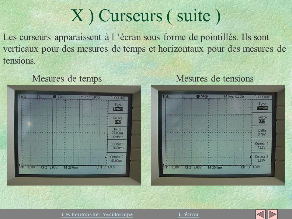 X ) Curseurs ( suite ) Les boutons de l oscilloscopeL écran Les curseurs apparaissent à l écran sous forme de pointillés. Ils sont verticaux pour des