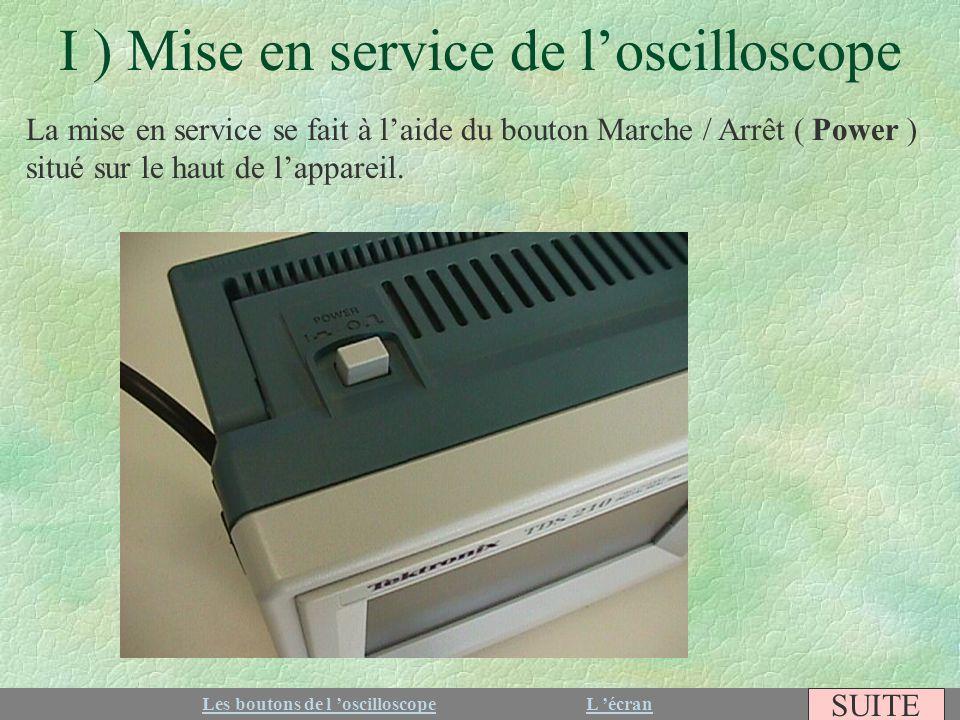 I ) Mise en service de loscilloscope La mise en service se fait à laide du bouton Marche / Arrêt ( Power ) situé sur le haut de lappareil. Les boutons