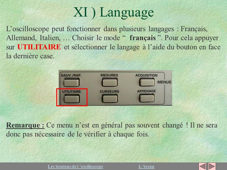 XI ) Language Les boutons de l oscilloscopeL écran Loscilloscope peut fonctionner dans plusieurs langages : Français, Allemand, Italien, … Choisir le