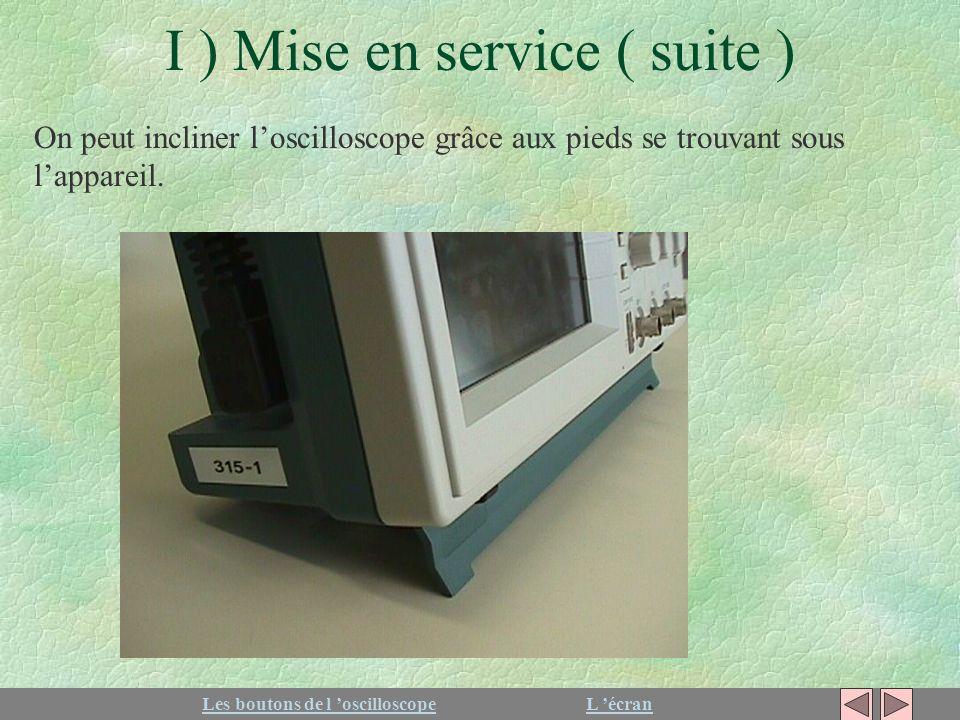 I ) Mise en service ( suite ) On peut incliner loscilloscope grâce aux pieds se trouvant sous lappareil. Les boutons de l oscilloscopeL écran