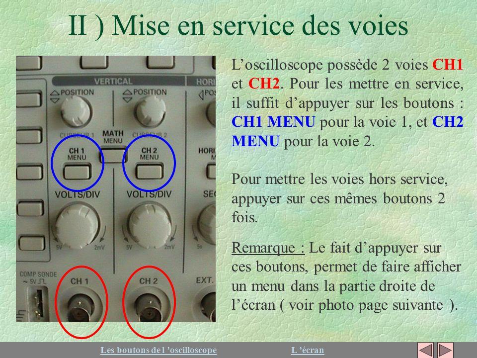 II ) Mise en service des voies Loscilloscope possède 2 voies CH1 et CH2. Pour les mettre en service, il suffit dappuyer sur les boutons : CH1 MENU pou