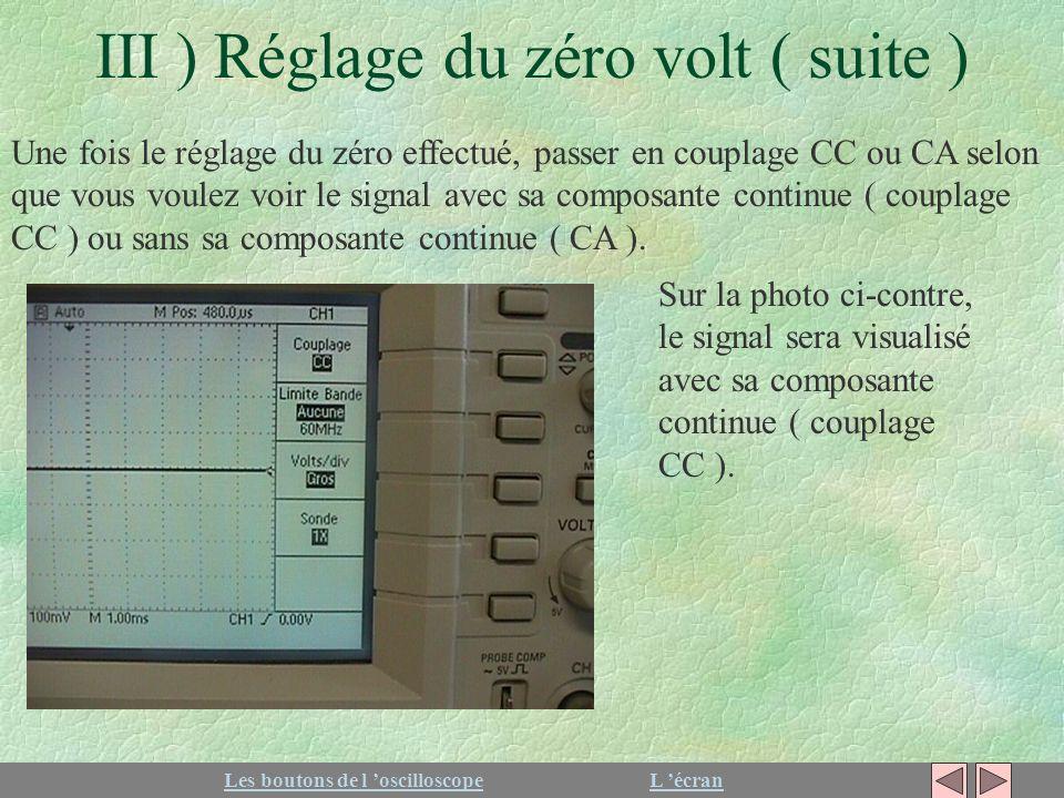 III ) Réglage du zéro volt ( suite ) Une fois le réglage du zéro effectué, passer en couplage CC ou CA selon que vous voulez voir le signal avec sa co
