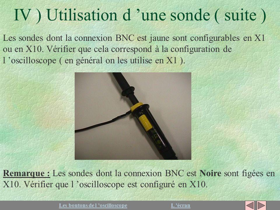 IV ) Utilisation d une sonde ( suite ) Les sondes dont la connexion BNC est jaune sont configurables en X1 ou en X10. Vérifier que cela correspond à l