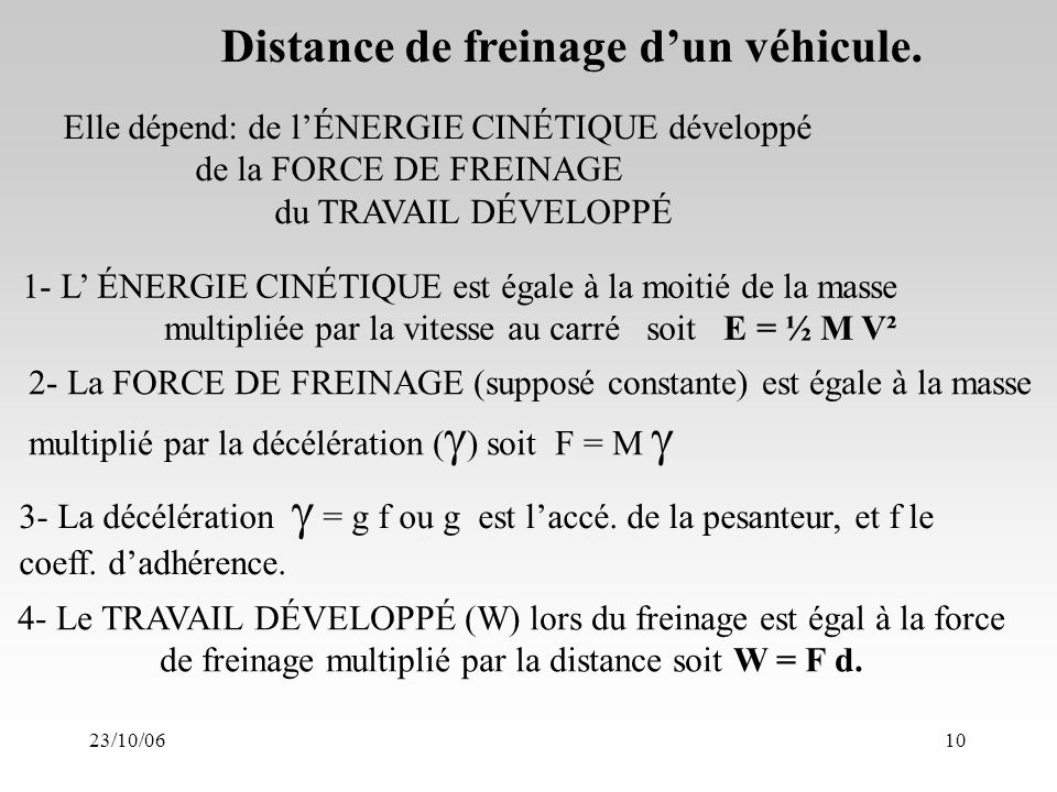 23/10/0610 Distance de freinage dun véhicule.