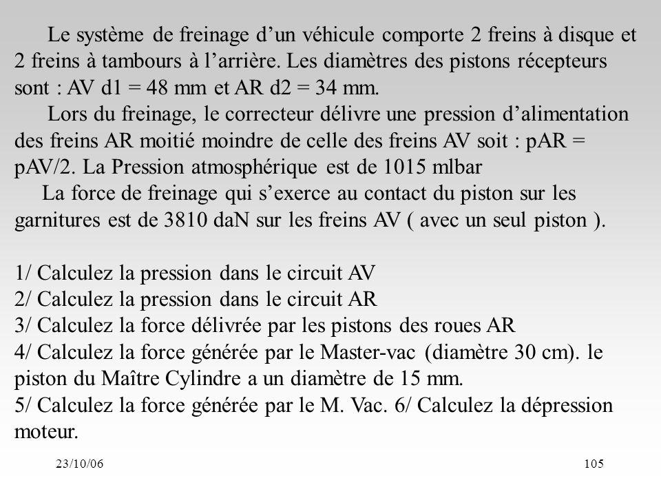 23/10/06105 Le système de freinage dun véhicule comporte 2 freins à disque et 2 freins à tambours à larrière.