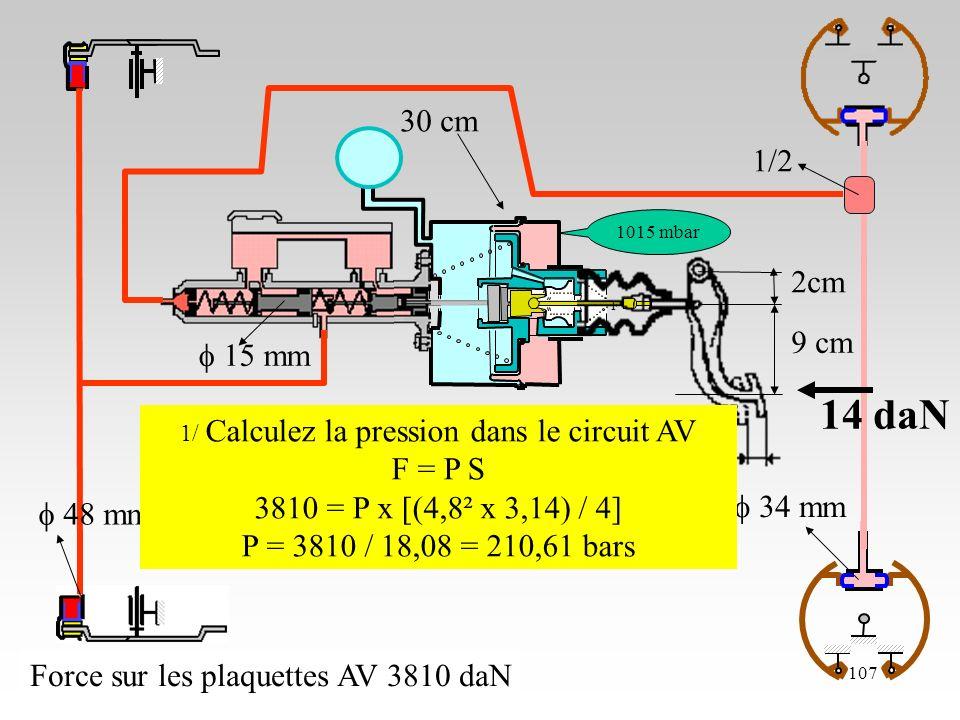 23/10/06107 2cm 9 cm 48 mm cm 1015 mbar 15 mm 34 mm 1/2 Force sur les plaquettes AV 3810 daN 14 daN 1/ Calculez la pression dans le circuit AV F = P S 3810 = P x [(4,8² x 3,14) / 4] P = 3810 / 18,08 = 210,61 bars